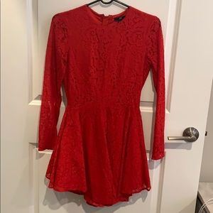 Red lace mini dress